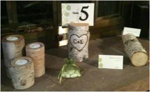 These birch centerpieces are for sale by Cindy via WeddingBee's Classifieds. Click photo to view Cindy's email address.