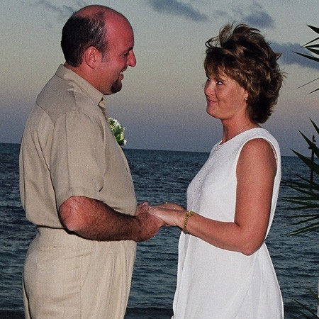 Saying 'I do' at our wedding in the Bahamas.