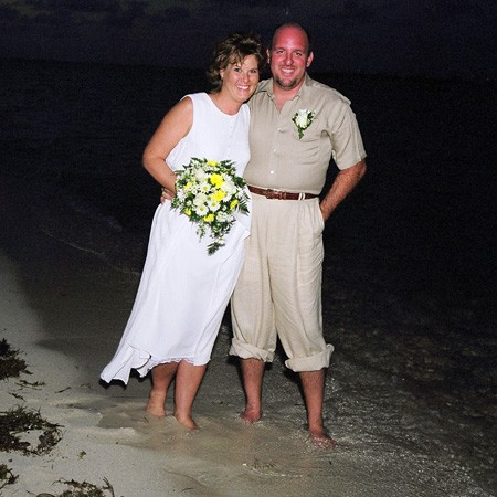 Walking on the beach after the wedding.