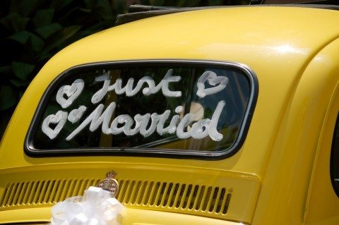 Toilet paper makes great wedding car decorations.