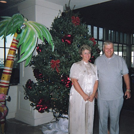 Lynnette's mom and dad exploring the hotel lobby while waiting for us to arrive at the beach.