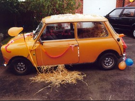 This wedding car was filled with straw!