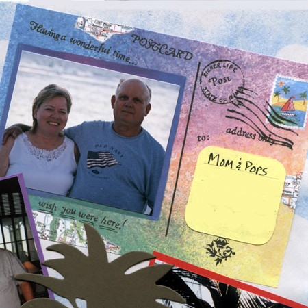 From Lynnette's scrapbook... a home-made postcard to Jim's parents, who couldn't make the cruise.