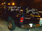 Personalized messages written on the windows of this wedding car that's owned by 2 chiropractors!
