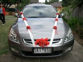 A fun way to use ribbons when decorating the wedding car.